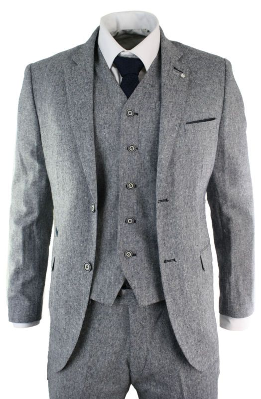 House Of Cavani Mens 3 Piece Grooms Suit Tweed Blue Check Tailored Fit Wedding Vintage Classic