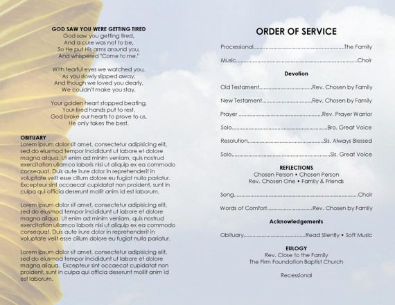 Golden Wings Faded  Printable Funeral Program Template