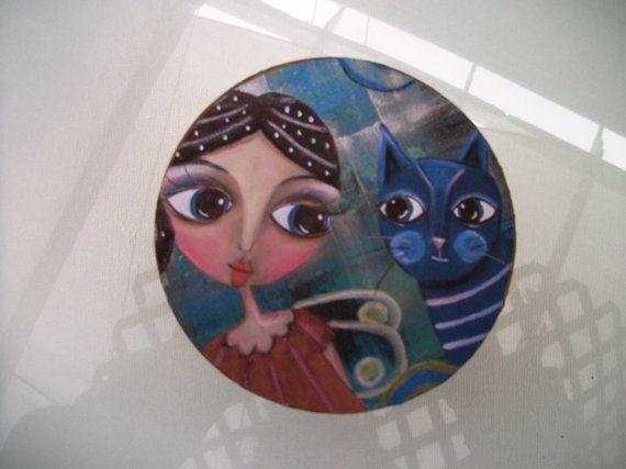 Box keepsake trinket jewelry Folk Art by by LoralaiOriginalArt, $14.99