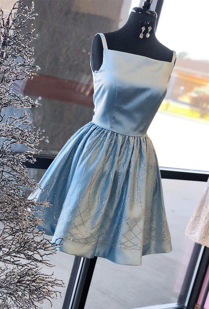 short prom dress homecoming dress short blue prom dress