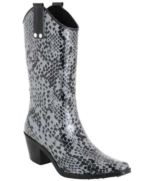 $24.95 Capelli New York Shiny Python Skin Printed Ladies Rubber Rain Boot