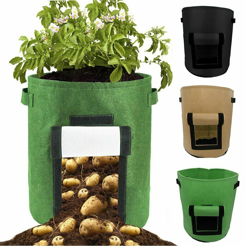 1 2 4 Pack Potato Grow Bags Planter Bag 5 7 Gallon Garden Bags For Vegetable Fabric Planting Pots With Handles Potato Planter Bag With Access Flap Breathab In 2020 Potato Planters Grow Bags Garden Bags