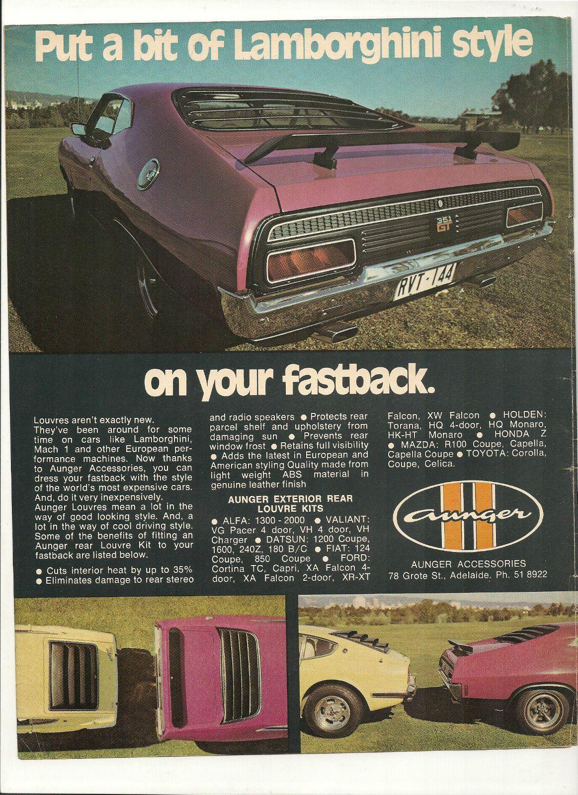 Original Vintage 1973 Aunger Louvres Australian Color Advert Ford GT Datsun | eBay