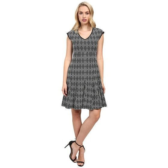 Taylor Knit Jacquard Fit & Flair Dress