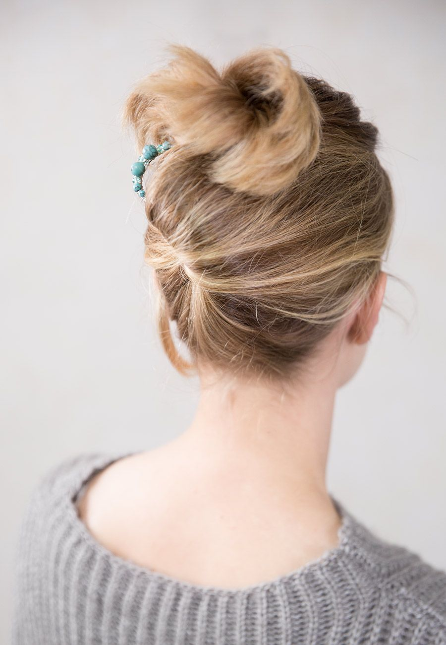 Fun Hairstyle With Gorgeous Turquoise Beaded Hair Pin Classy Enough For Work And Cute Enough For Girls Ni French Twist Hair Hair Braid Videos Twist Hairstyles