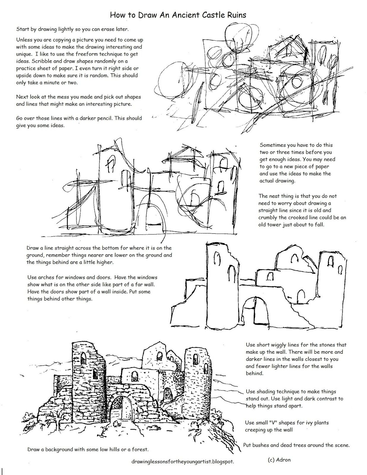 Printable How To Draw The Castle Ruins Worksheet