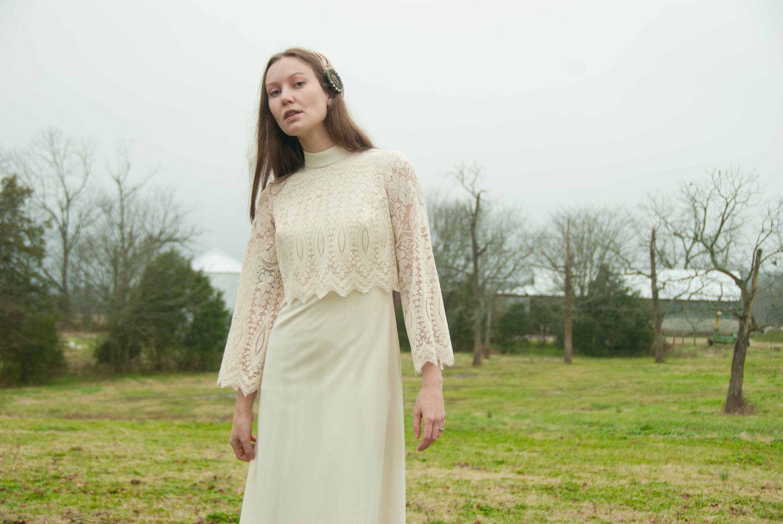 60s lace wedding dress  s Boho Dress  Boho Wedding Dress  Spring Fashion  Ivory Lace