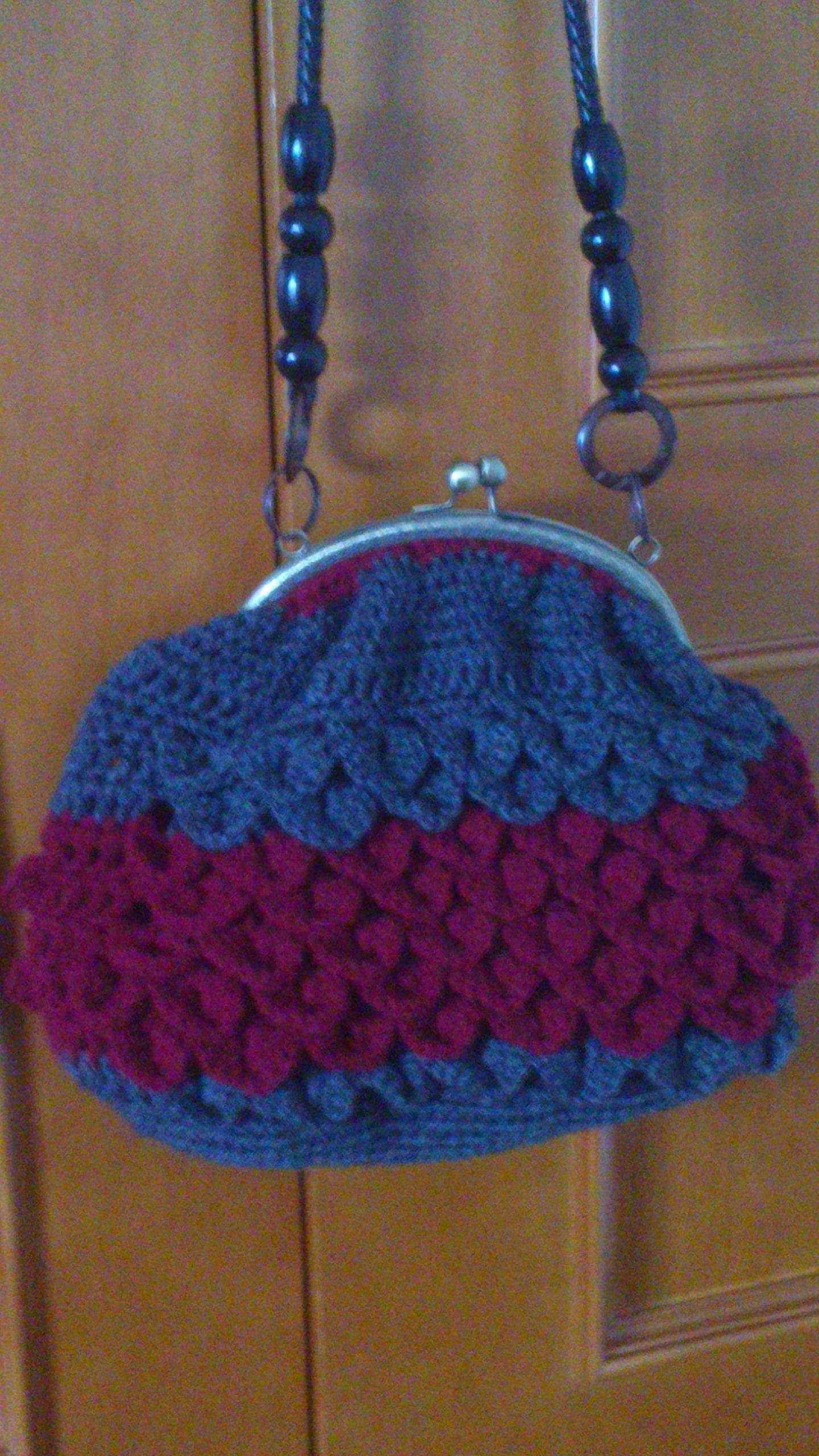 Bolso de boquilla hecho de crochet punto cocodrilo | Bolsos ...