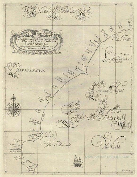 Carta particolare che comincia con il capo S:Andrea ਠfinisce con il capo Matas d'America . . . D'America Carta XXI.D'America Carta XXII. - Dudley, Sir Robert ,1646-47