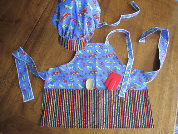 Childs' Chef's hat and Apron because Cooking by SassyBagsAndRags, $24.00
