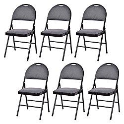 Giantex Set Of 6 Folding Chairs Fabric Upholstered Padded Seat