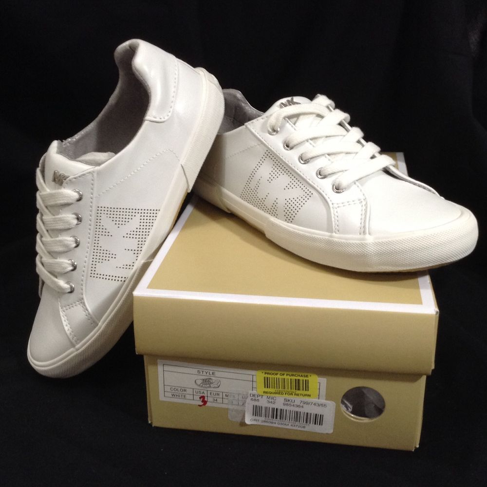 c086c4621ac38 Michael Kors Sz 3 Girls Youth IMA Court 888 White Lace Up Low Top Sneakers   MichaelKors  Athletic