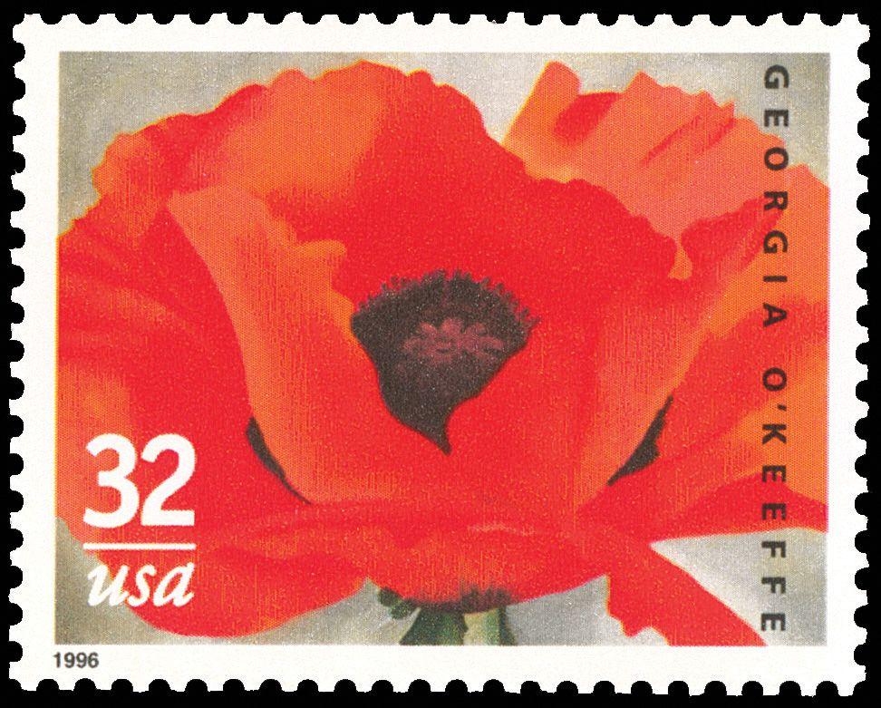o'keefe stamp Vintage postage, Artist painting