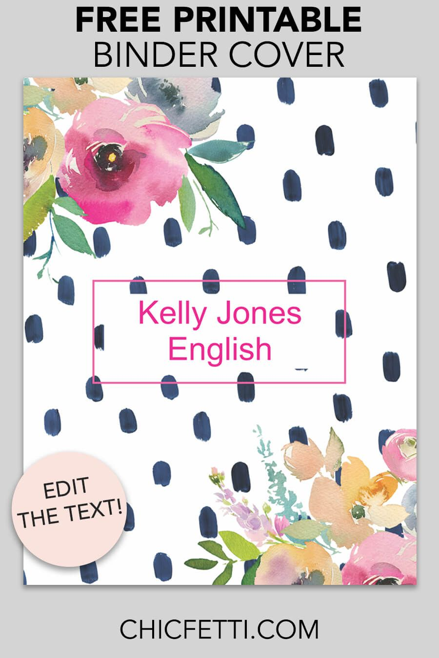 floral watercolor dot binder cover free printables free