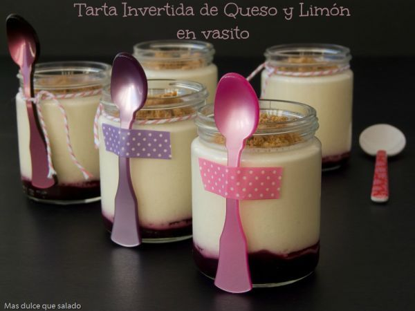 Receta Tarta invertida de queso y limón en vasito, para Masdulcequesalado - Petitchef