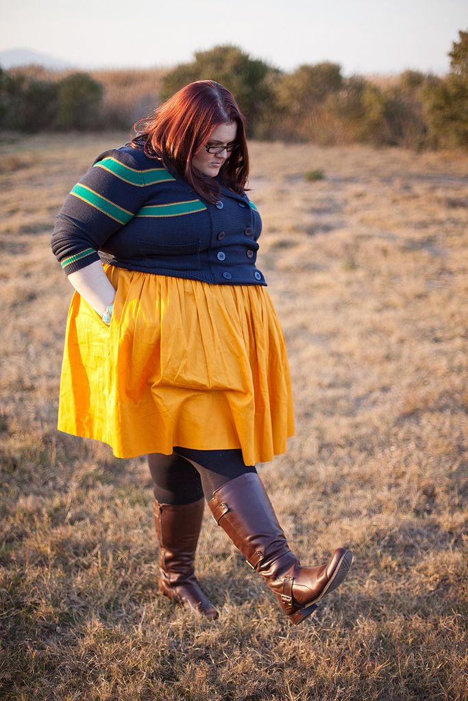 Yellow skirt idea...plus, great post about wide-calf boots ...