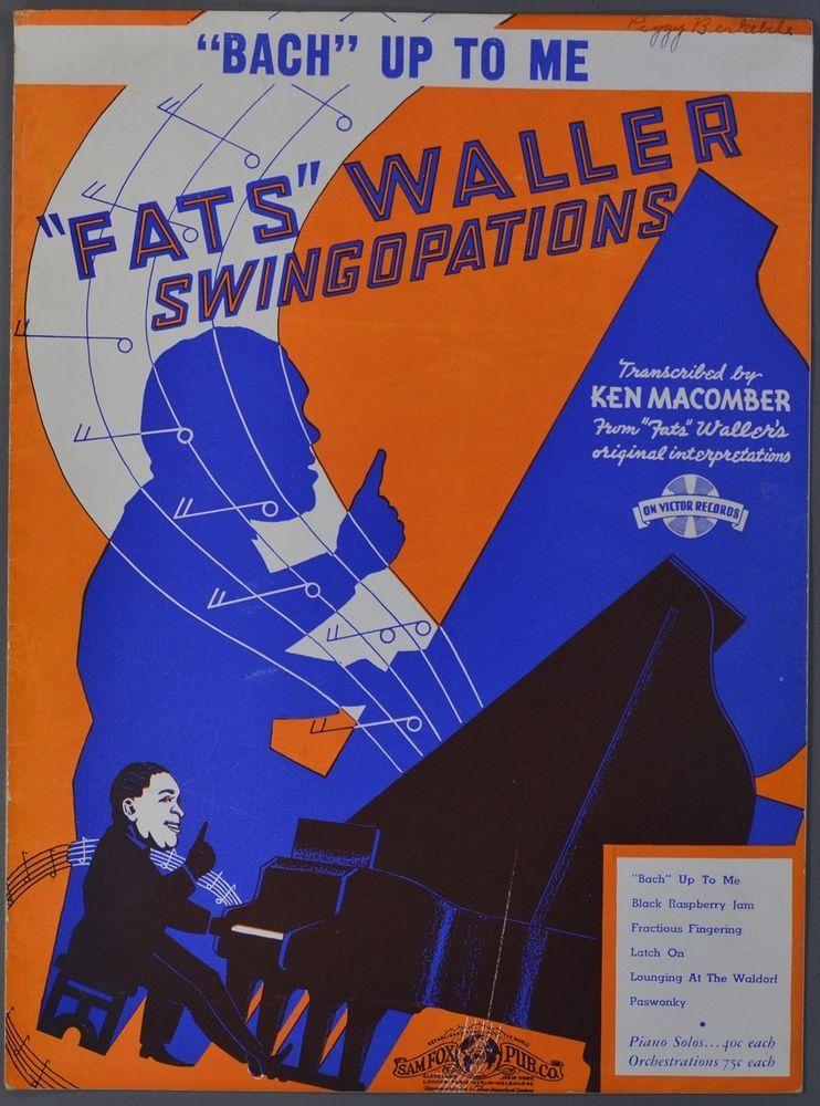 1938 FATS WALLER Piano Solo Sheet Music BACH UP TO ME Ken ... Fats Waller Music
