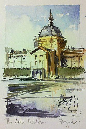 Zagreb Arts Pavilion Watercolor Architecture Watercolor