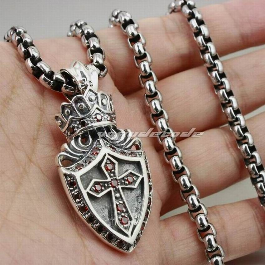 Solid 925 Sterling Silver Crown Cross Shield Mens Pendant