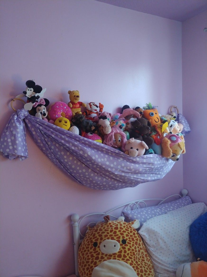 Small Stuffed Animal Hammock, Stuffed Animal Storage In 2020 Toy Storage Kids Room Girl Toy Storage Bedroom Ideas For Small Rooms Diy