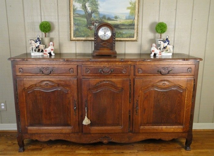 Antique Country French Buffet Sideboard Server Carved Shells Oak Keys Old Frenchcountryprovincial