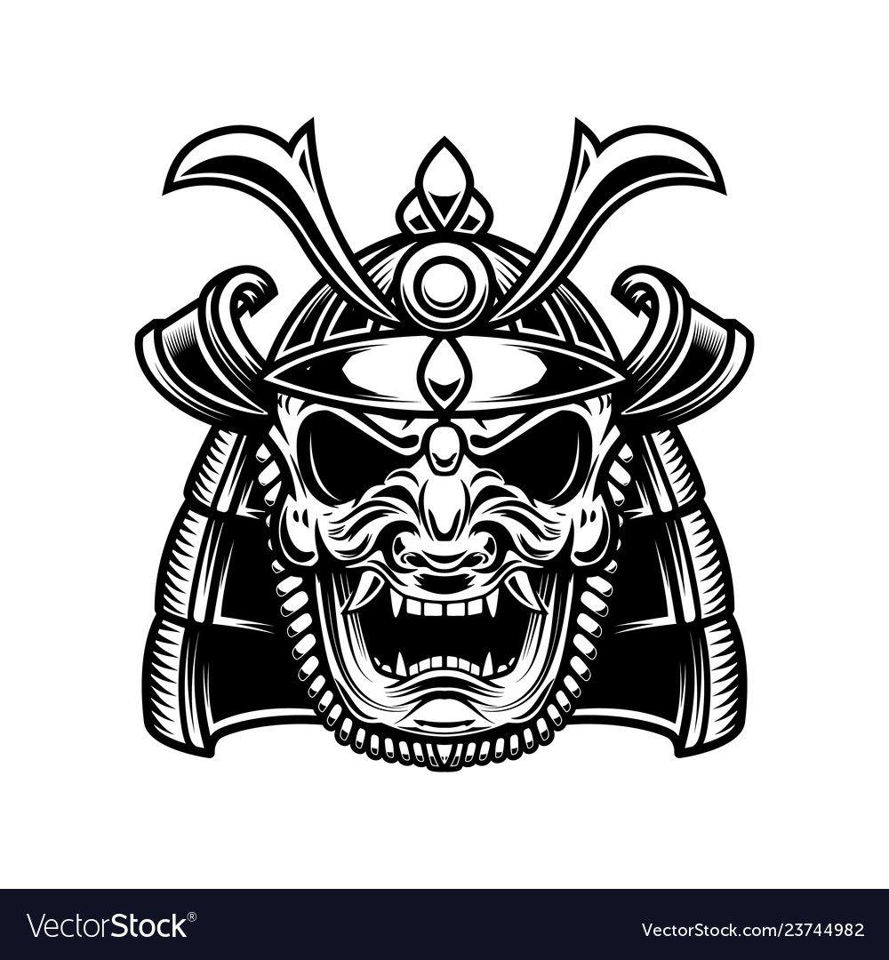 Japanese samurai mask and helmet design element vector