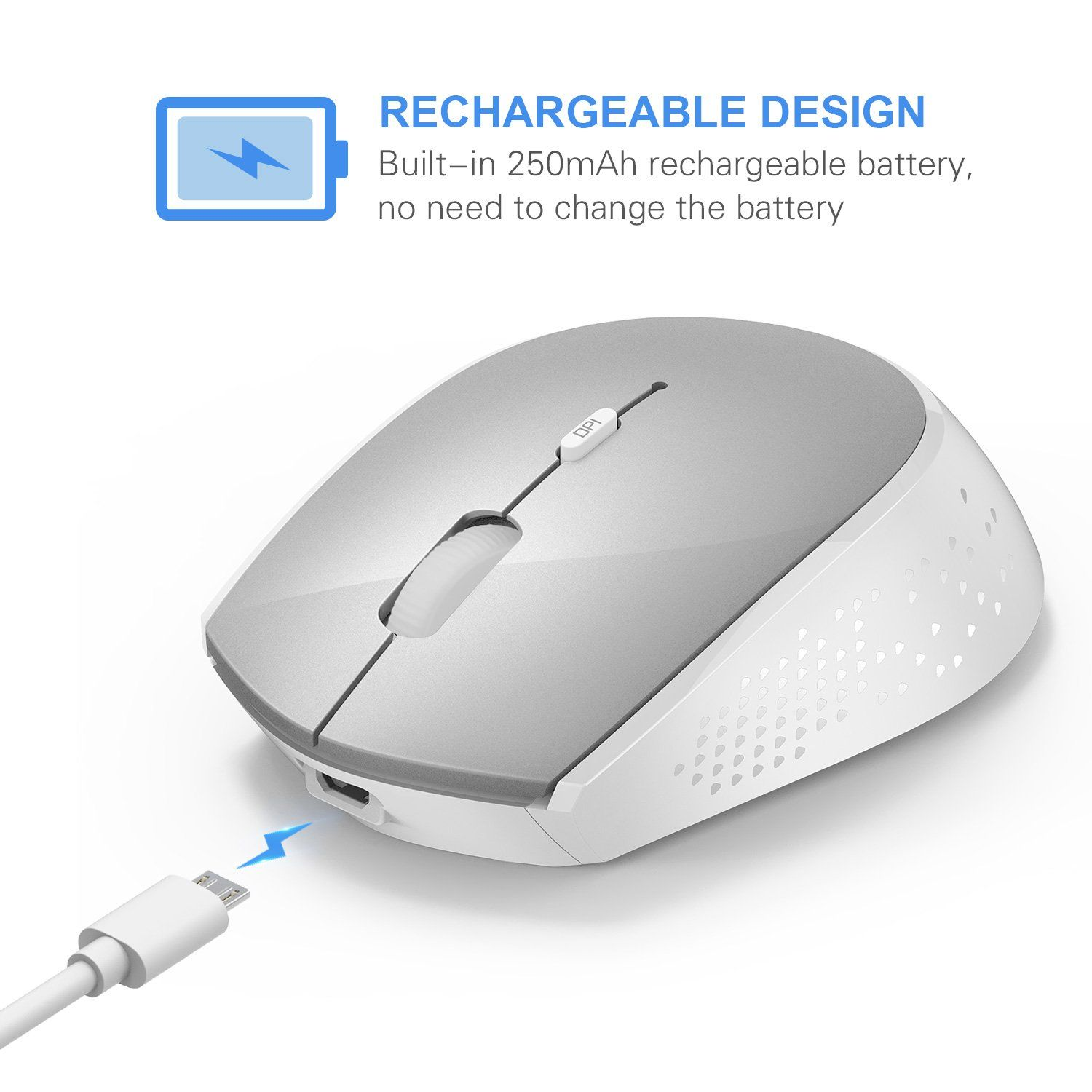 29a0db629d5 Type C Wireless Mouse, Jelly Comb 2.4GHz Rechargeable USB C Wireless Mouse  Compatible for MacBook 12