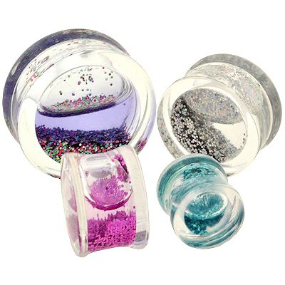 Clear Glitter Shimmer Acrylic PlugsSold as Pairs