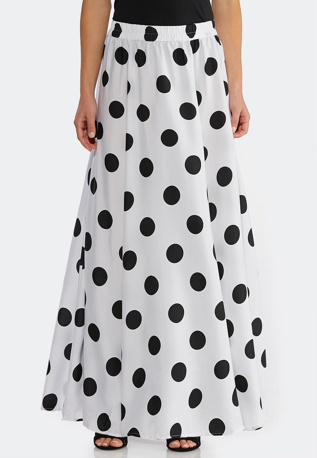 f5d2069c42f Black White Dot Swing Maxi Skirt Maxi Cato Fashions in 2019