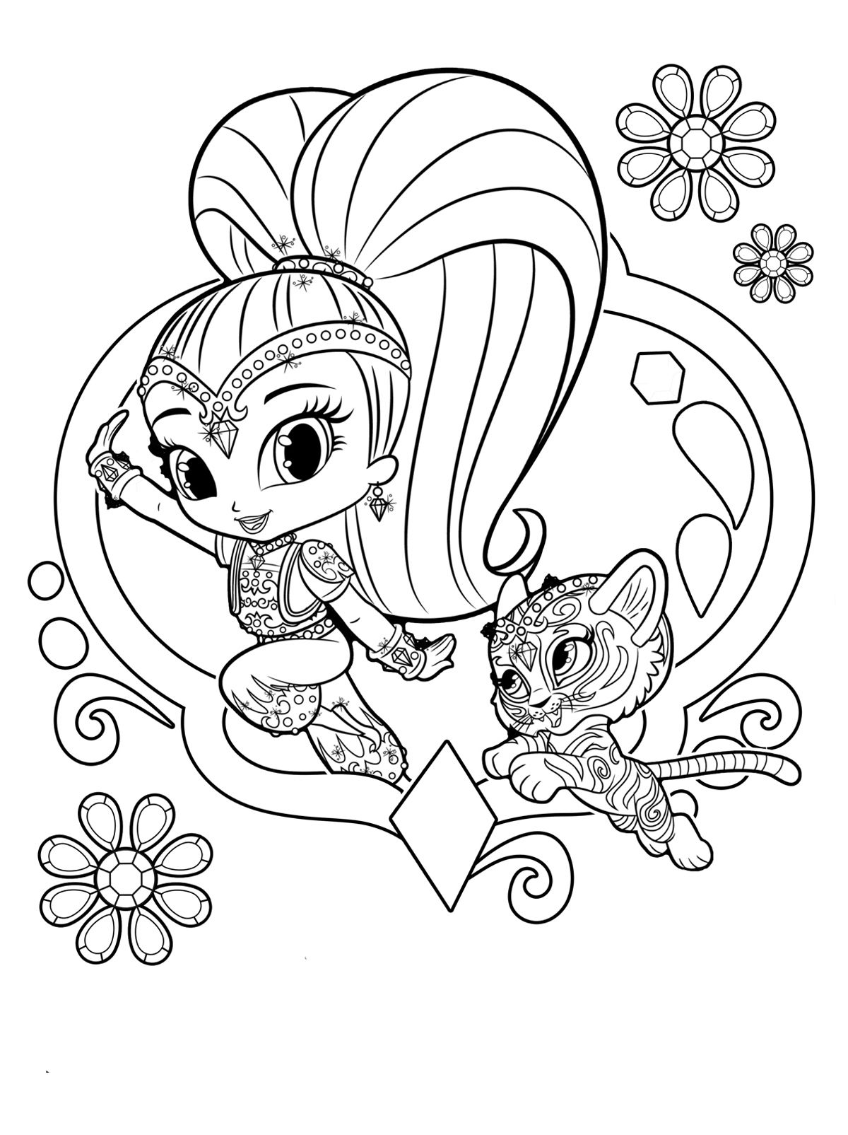 раскраски Шиммер и Шайн джин с тигренком Dibujos Para Pintar