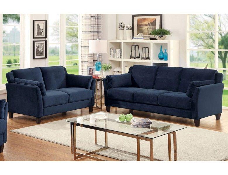 Myra Navy Fabric Living Room Affordable Sofa Blue Sofa Set Cheap Living Room Sets