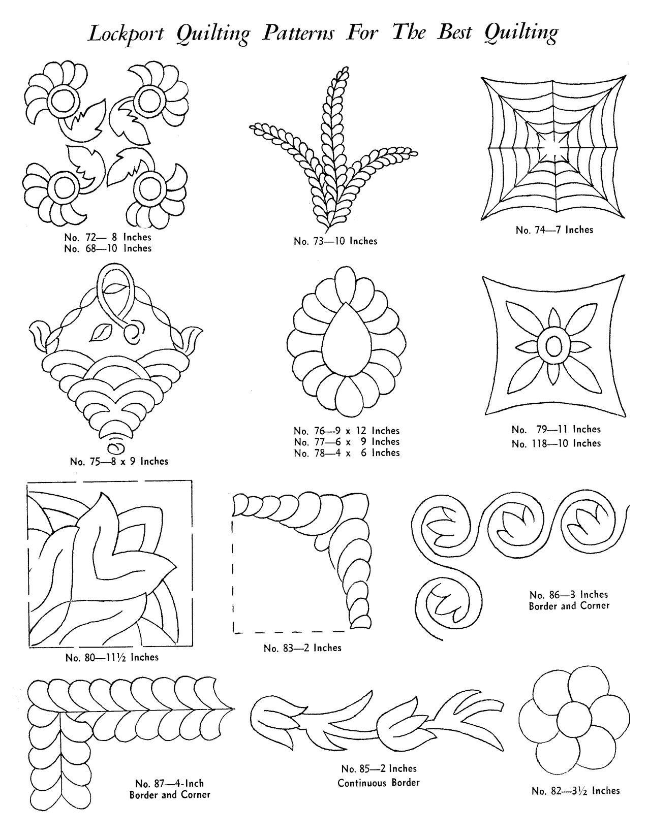 Lockport Hand Quilting Pattern Catalog Hand Quilting Patterns Hand Quilting Designs Hand Quilting