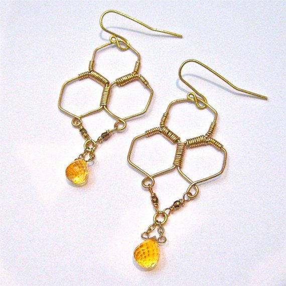 Gold Honeycomb Wire Wrapped earrings by TransMorphology, $44.00