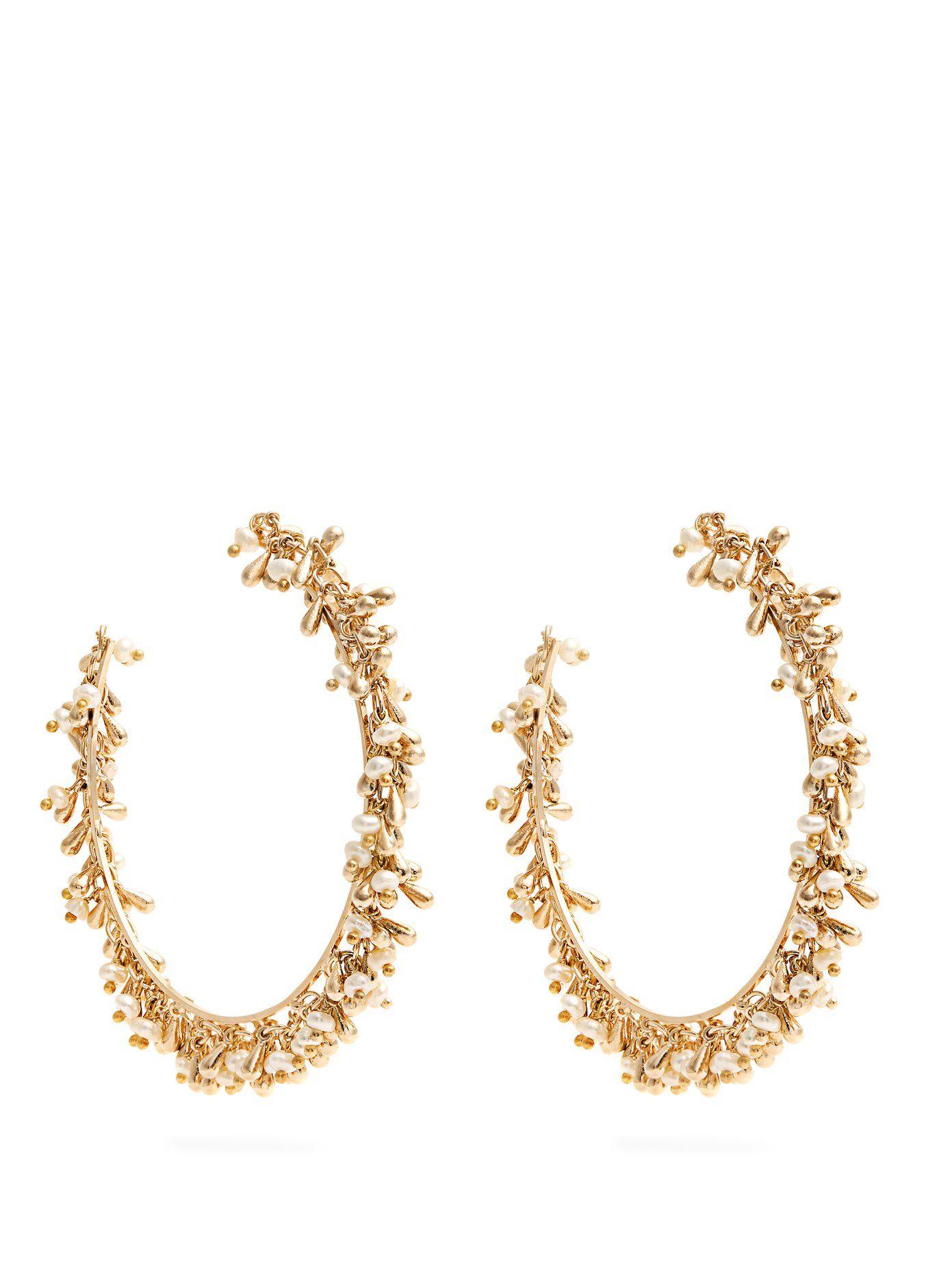 Flapper pearl-embellished hoop earrings Rosantica eviGIDaDr