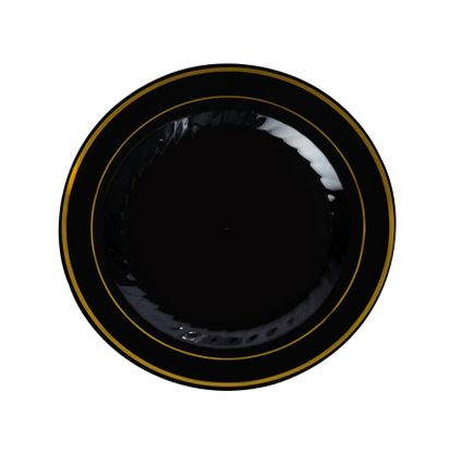 Disposable Elegant Black with Gold Rim Round Plastic Plates - They are made from heavy duty plastic and are excellent for weddings and family parties.  sc 1 st  Pinterest & Plastic Black with Gold Rim 6\