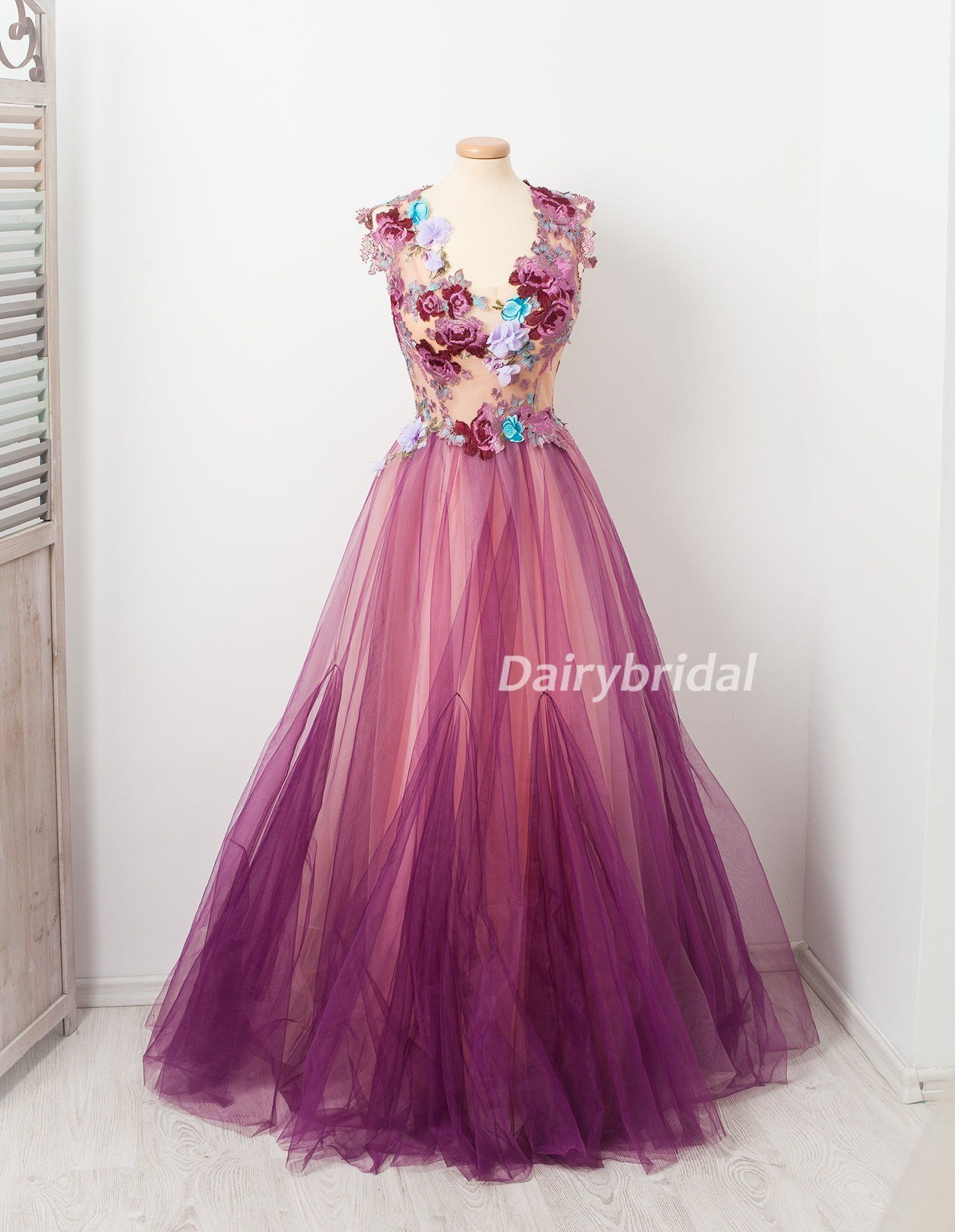 Charming applique aline prom dress honeast tulle prom dress d