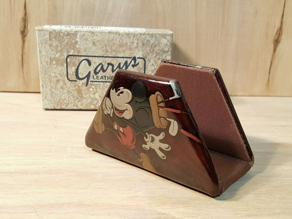 RARE NOS Disney MICKEY MOUSE Golf LEATHER BUSINESS CARD HOLDER ...