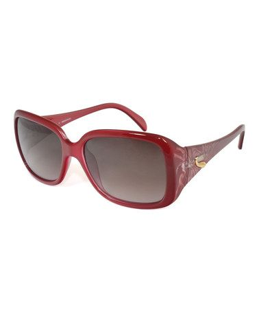 Look what I found on #zulily! Cherry & Gold Rectangular Sunglasses by Emilio Pucci #zulilyfinds