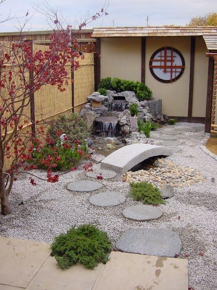 kleiner japanischer garten gestaltungsideen pflanzen wasser deko ...