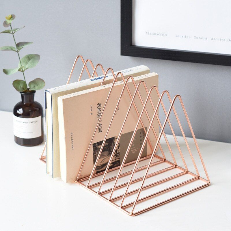 Photo of Rose Gold Luxury Bookshelf Metal Geometry Newspapers and Magazines Storage Rack Gold Home Decor Shelf Book Storage