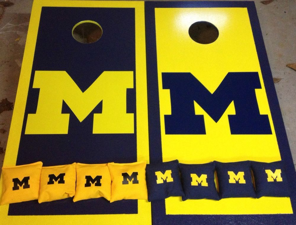 University of michigan cornhole decal sticker for cornhole car windowsor walls