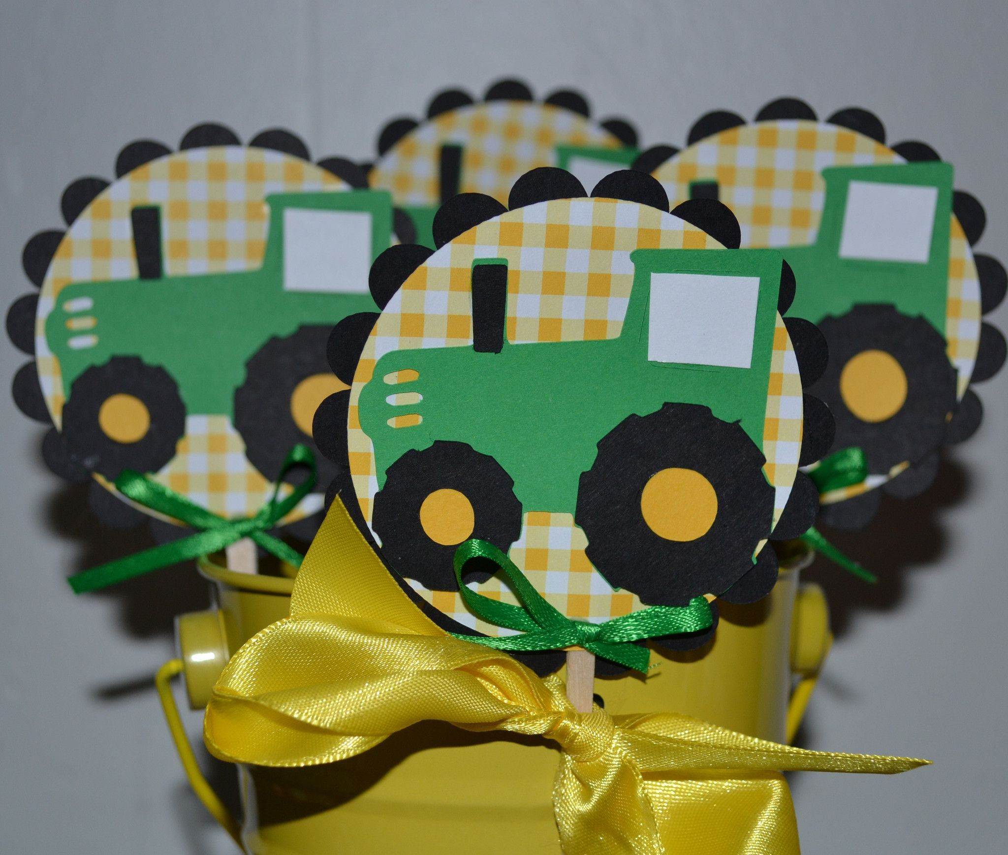 Deere Green Tractor Farm Themed CupCake Toppers (Set of 12)