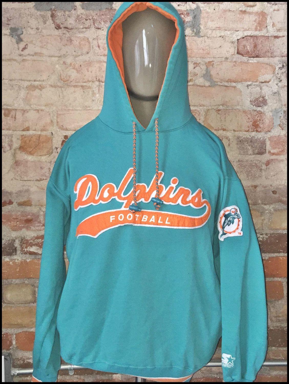 Vintage 90's NFL Miami Dolphins Starter Script Pullover Hoodie ...