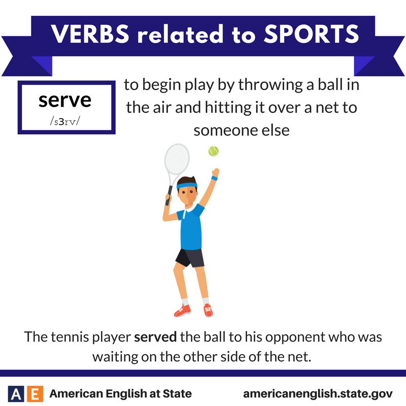 Verbs related to Sports Serve Anglais