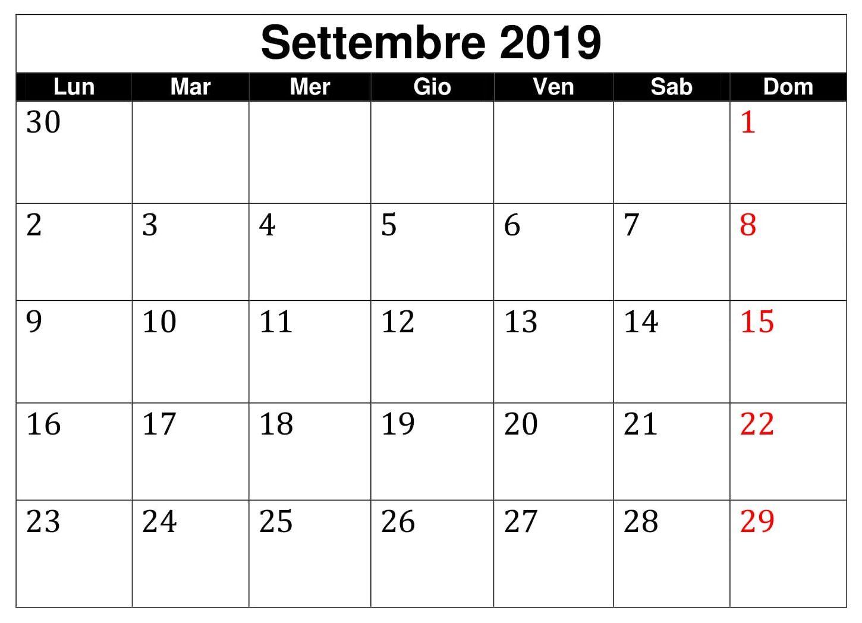 Settembre 2019 Professionale Calendario Words, Word