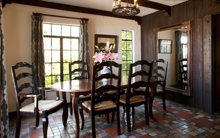 Dining Room Floor Tiles Wood Details On Wall And Ceiling My Houzz Boho