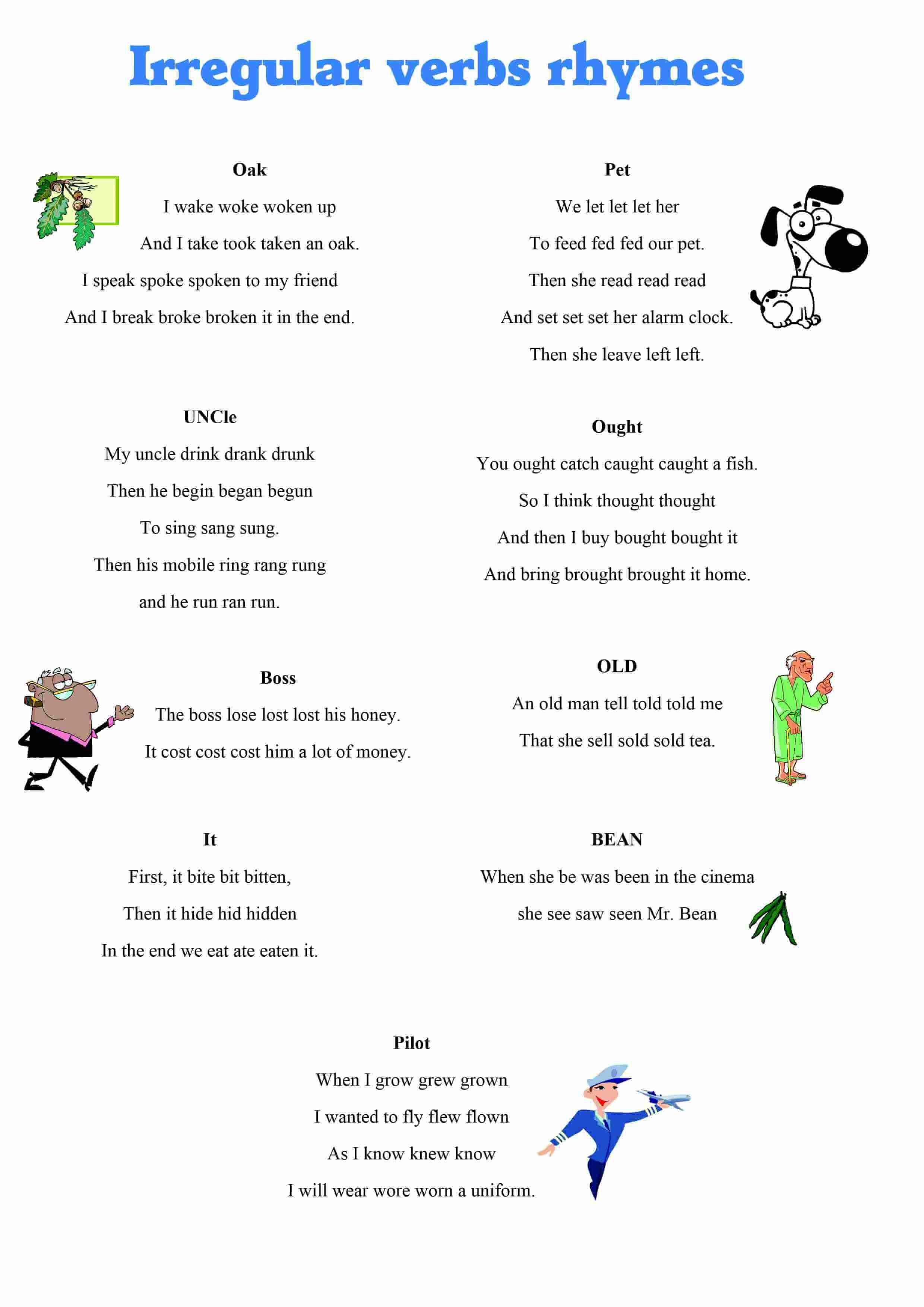 Irregular Verbs Rhymes Irregular Verbs Verb Worksheets Learn English [ 3508 x 2480 Pixel ]