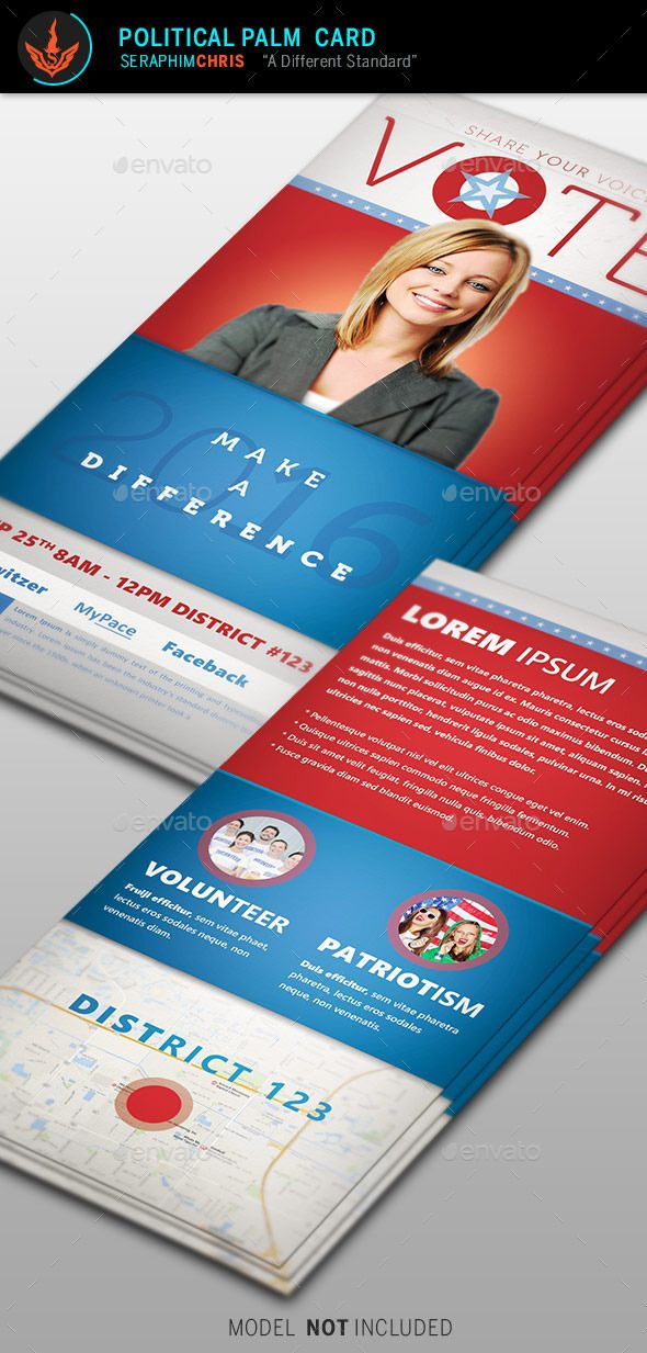Vote Political Palm Card Template | Card templates, Template and ...