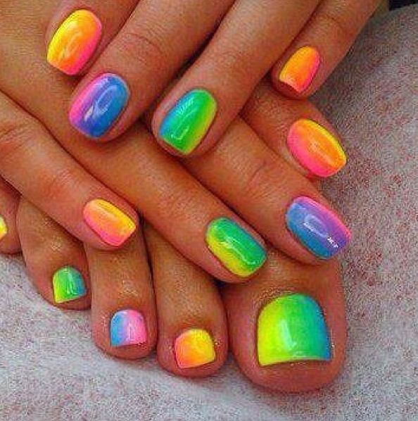 Those Rainbow Neon Ombre Nails Are My Obsession Now They Re Perfect For Summer