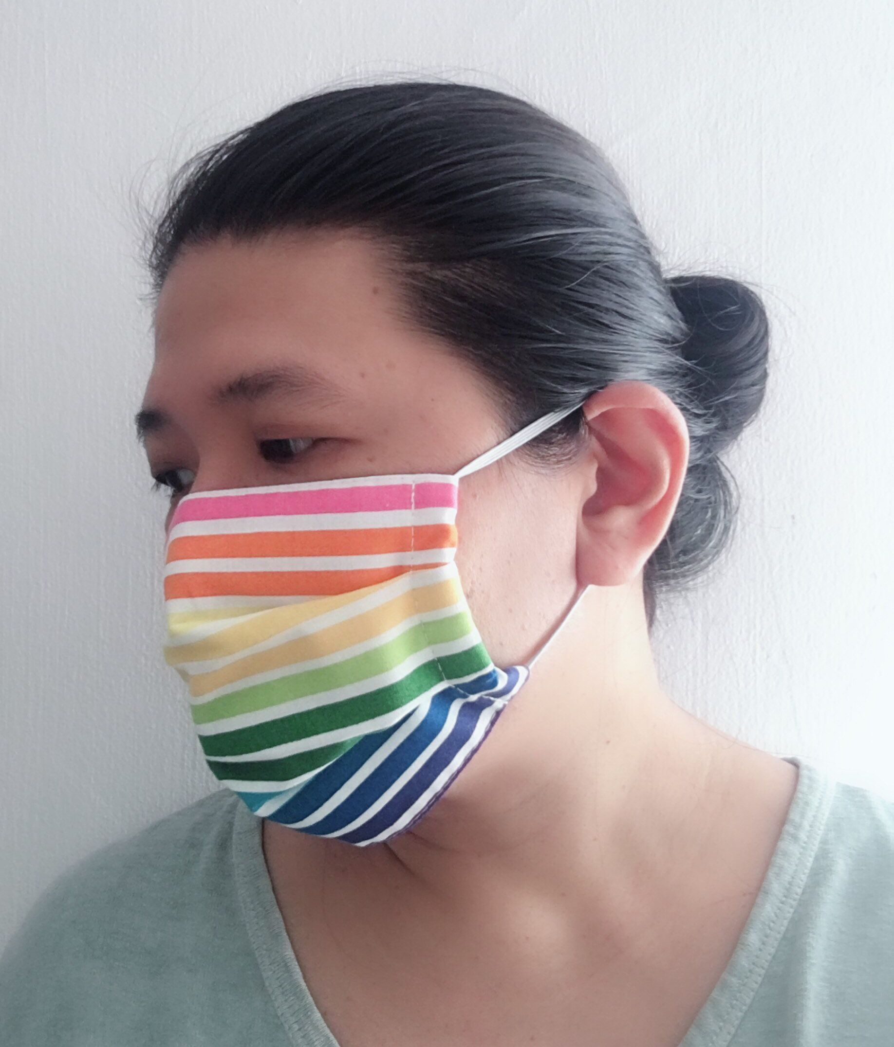 Rainbow Stripes/ Organic Surgical Face Mask/ Germ Free